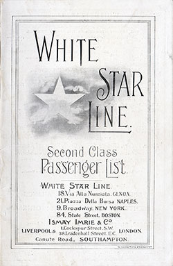Passenger Manifest, White Star Line, SS Arabic, 1909, Liverpool to New York