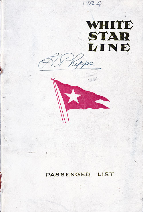 Front Cover, S.S. Arabic Passenger List 18 September 1924