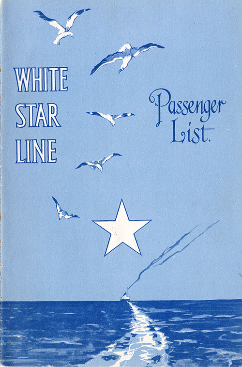 Front Cover, S.S. Baltic Passenger List 18 May 1929