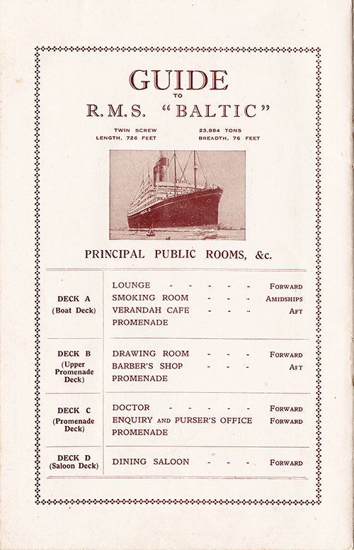 White Star Line S.S. Baltic Guide to Public Rooms