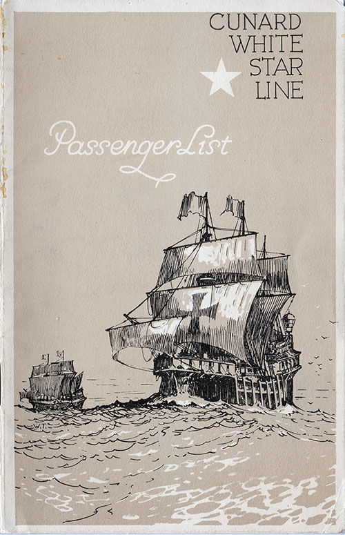 Front Cover, R.M.S. Britanic Passenger List 6 October 1934