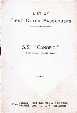 Passenger Manifest, SS Canopic, White Star Line, July 1911, Genoa to Boston