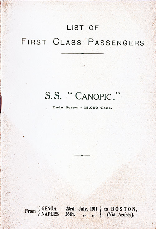 Front Cover, White Star Line SS Canopic First Class Passenger List - 23 July 1911.