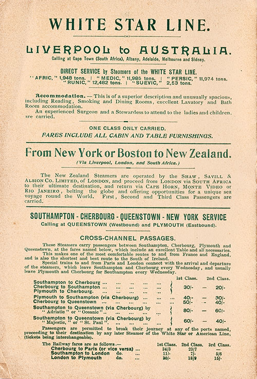 Back Cover, S.S. Canopic Passenger List 23 July 1911