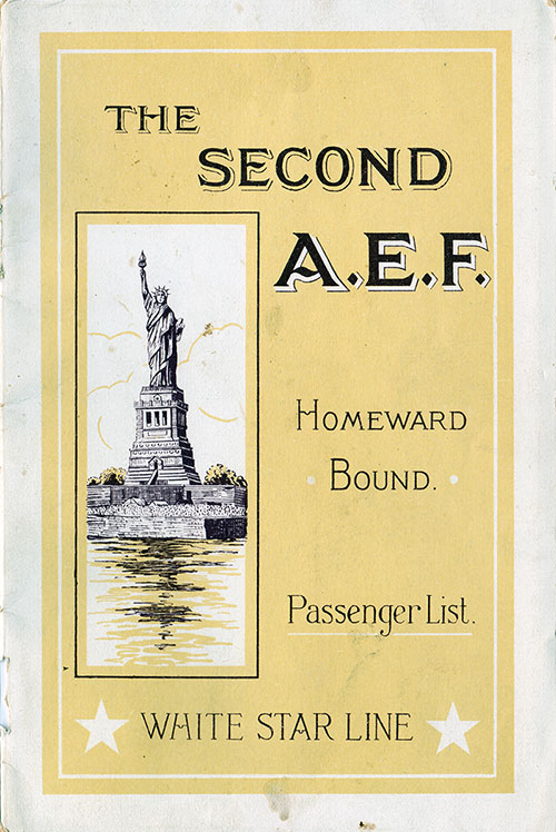 Front Cover, S.S. Cedric Passenger List 8 October 1927
