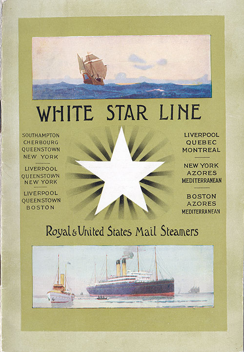 Front Cover, R.M.S. Cymric Passenger List 26 July 1910