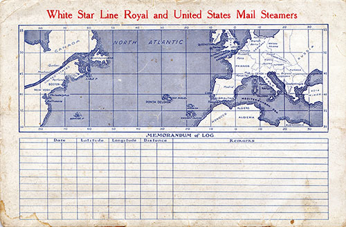 Back Cover, S.S. Doric Passenger List 16 April 1927