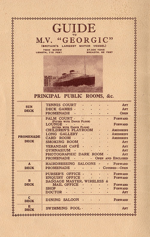 Guide to Public Rooms on the RMS Georgic of the White Star Line