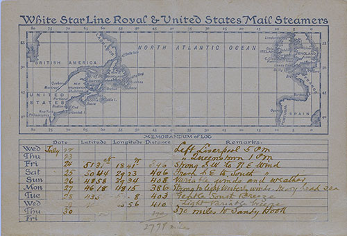 Back Cover, RMS Germanic Passenger List - 22 July 1896