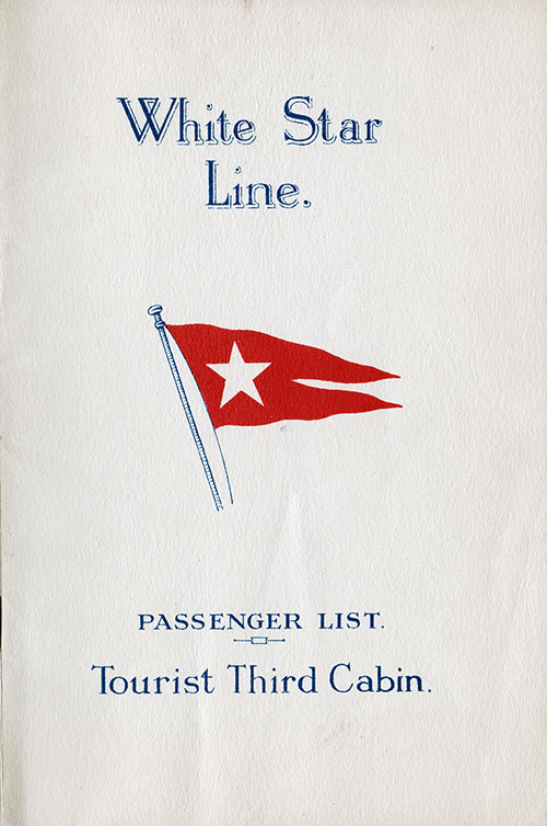 Front Cover, S.S. Homeric Passenger List 25 August 1926