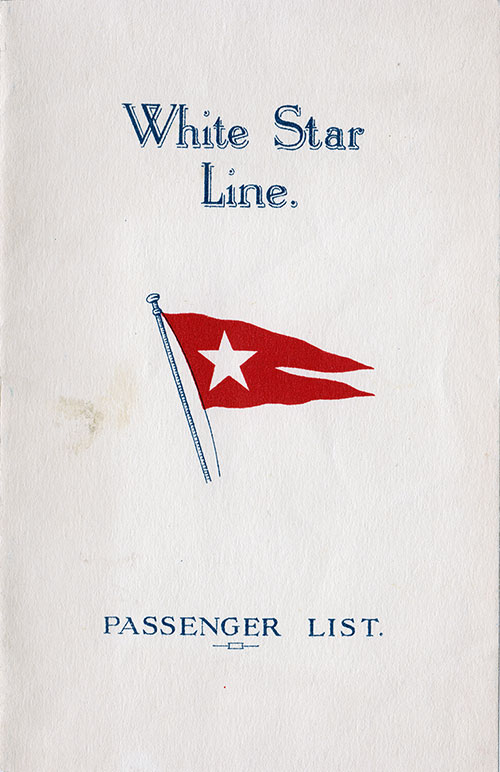 Front Cover, White Star Line RMS Homeric Tourist Third Cabin Passenger List - 8 August 1928.