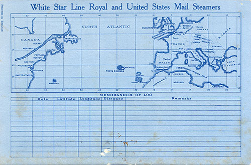 Track Chart, RMS Homeric Passenger List - 6 August 1930
