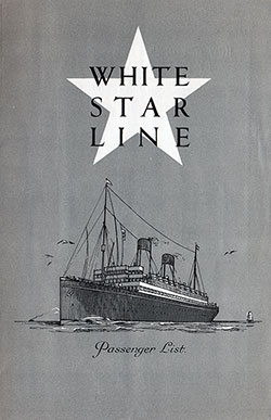 Passenger Manifest, White Star Line RMS Majestic 1922