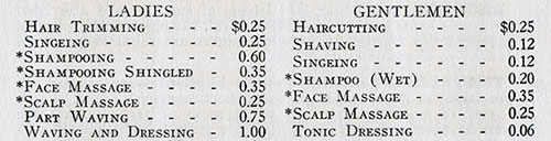 Barber Fee Schedule, 1930-02-27