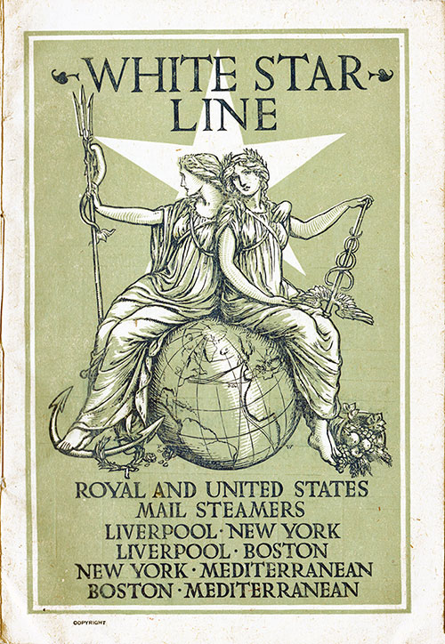 Front Cover, White Star Line RMS Majestic First Class Passenger List - 30 August 1905.