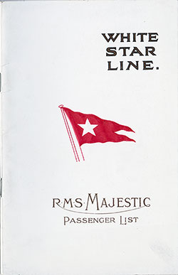 Passenger Manifest, White Star Line RMS Majestic - 1924-05-07
