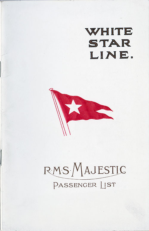 Front Cover, S.S. Majestic Passenger List 7 May 1924