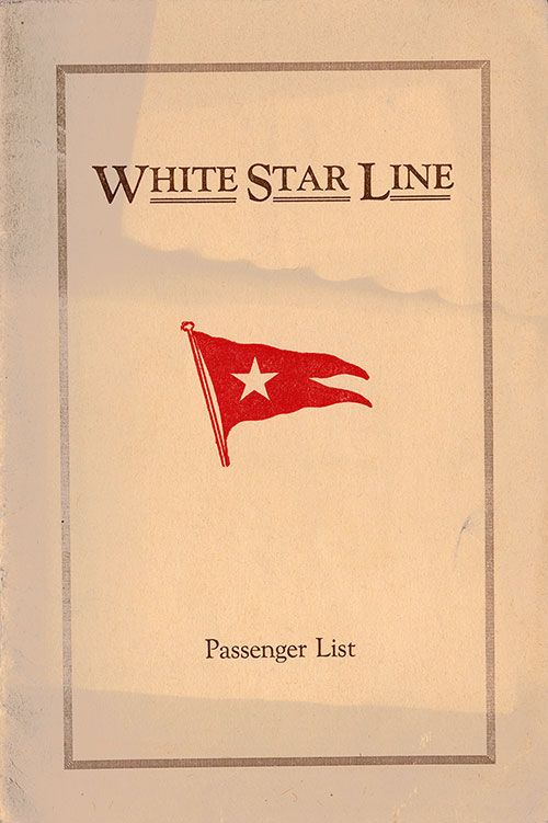 Front Cover, S.S. Majestic Passenger List 5 June 1926
