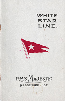 Passenger Manifest, White Star Line RMS Majestic - 1927-08-24