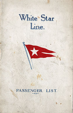 Passenger Manifest, White Star Line RMS Majestic - 1928-08-15
