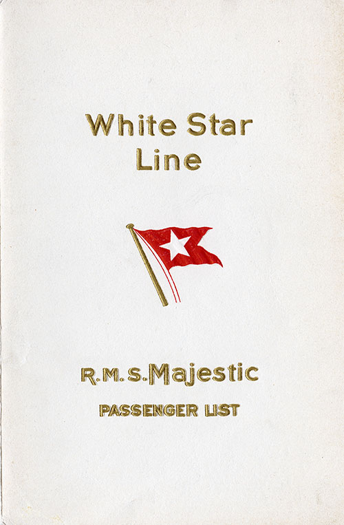Front Cover, S.S. Majestic Passenger List 20 April 1929