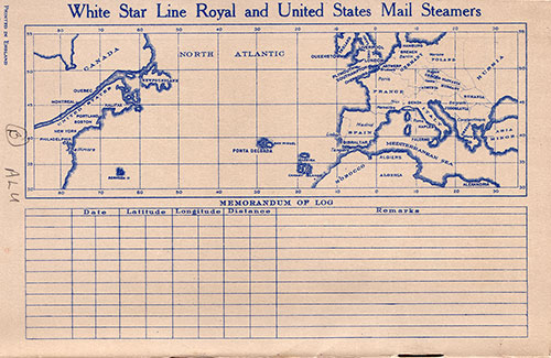 Back Cover, R.M.S. Majestic Passenger List 4 September 1929