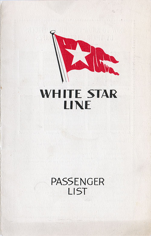 Front Cover, S.S. Majestic Passenger List 10 August 1932