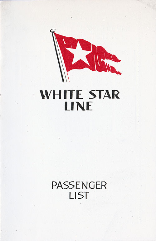 Front Cover, R.M.S. Majestic Passenger List 23 August 1933