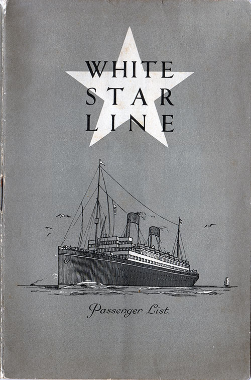 Front Cover, S.S. Megantic Passenger List 22 August 1930