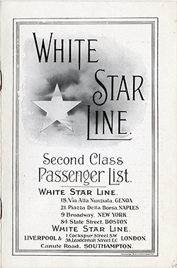 Passenger Manifest, White Star Line SS Olympic - 1920 - Front Cover