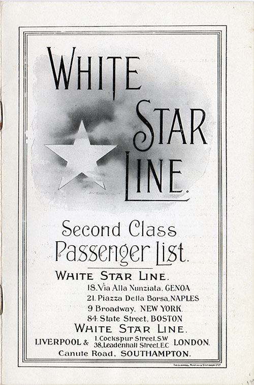 Front Cover, RMS Olympic Passenger List - 8 September 1920