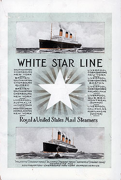 Front Cover, Second Class Passenger List from the RMS Olympic of the Cunard Line Sailing 23 August 1922.