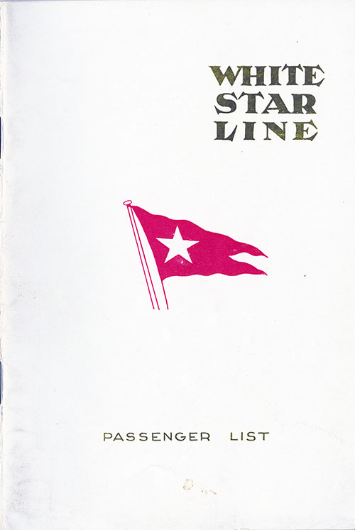 Front Cover, White Star Line SS Pittsburgh Cabin Class Passenger List - 22 May 1924.