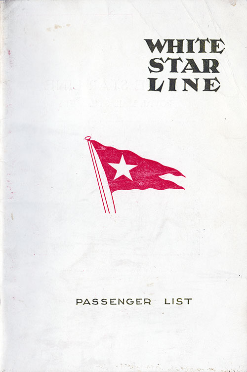 Front Cover, S.S. Pittsburgh Passenger List 4 September 1924