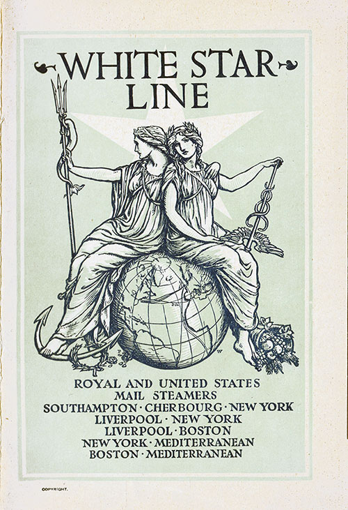 Front Cover, White Star Line RMS Republic First Class Passenger List - 14 August 1907.