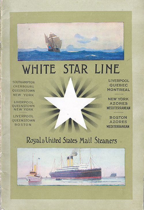 Front Cover, White Star Line RMS Teutonic First Class Passenger List - 14 September 1910.