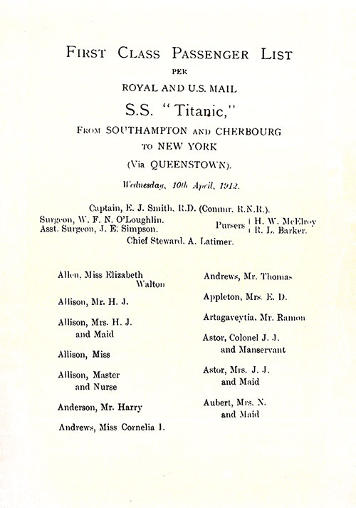 Page 3 of the First Class Passenger List, Listing Senior Officers and Passengers from Miss Elizabeth Walton Allen through Mrs. N. Aubert and Maid