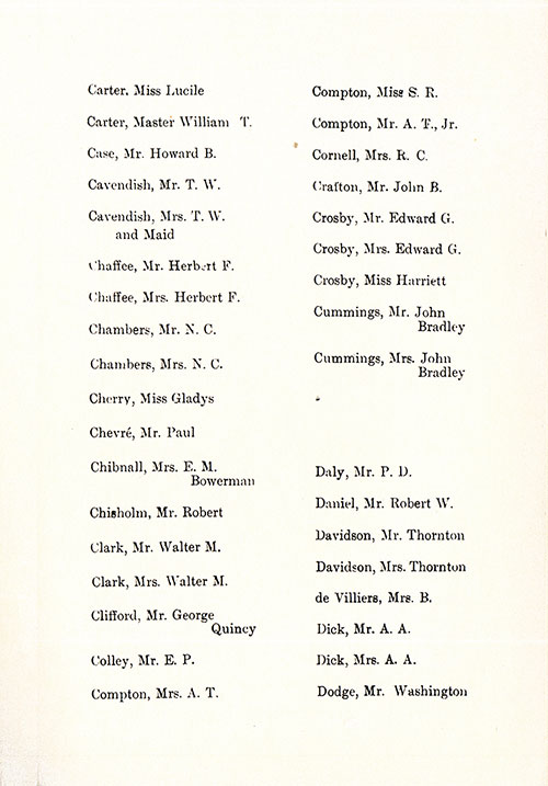 Page 5 of the First Class Passenger List, Listing Passengers Miss Lucile Carter through Mr. Washington Dodge
