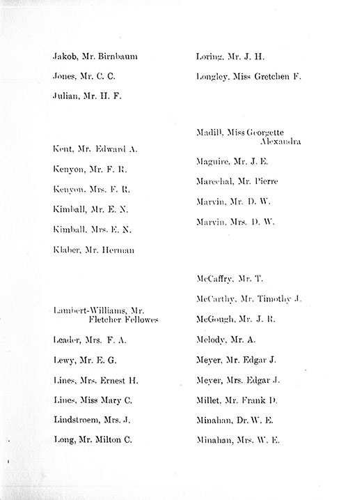 Page 8 of the First Class Passenger List, Listing Passengers Mr. Birnbaum Jakob through Mrs. W. E. Minahan