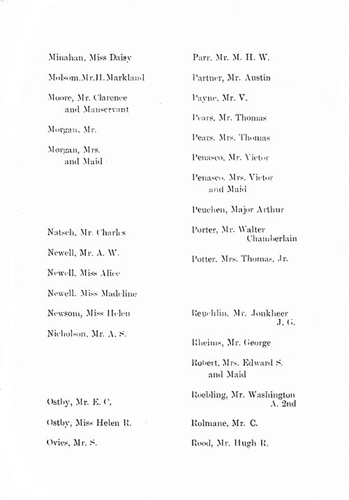 Page 9 of the First Class Passenger List, Listing Passengers Miss Daisy Minahan through Mr. Hugh R. Rood