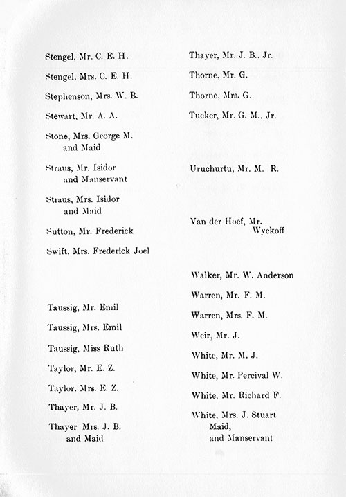 Page 11 of the First Class Passenger List, Listing Passengers Mr. C. E. H. Stengel through Mrs. J. Stuart White, Maid, and Manservant