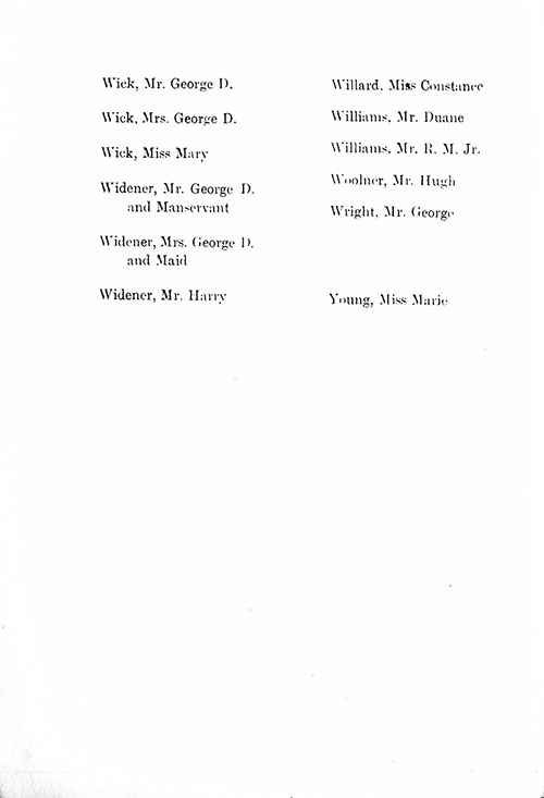 Page 12 of the First Class Passenger List, Listing Passengers Mr. George D. Wick through Miss Marie Young