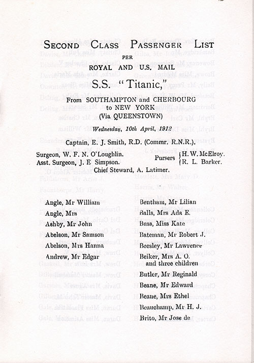 Page 3 of the Second Class Passenger List, Listing Senior Officers and Passengers from Mr. William Angle to Mr. Jose de Brito.