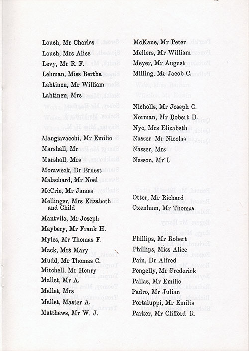 Page 7 of the Second Class Passenger List, Listing Passengers from Mr. Charles Laroche to Mr. Clifford R. Parker