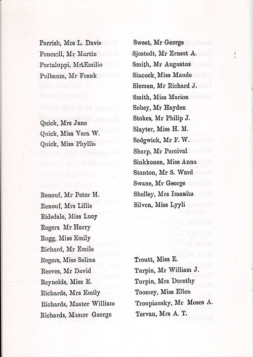 Page 8 of the Second Class Passenger List, Listing Passengers from Mrs. L. Davis Parrish to Mrs. A. T. Tervan
