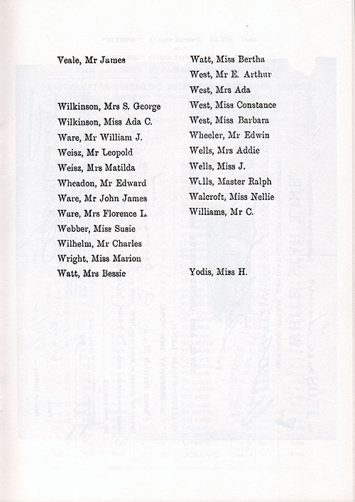 Page 8 of the Second Class Passenger List, Listing Passengers from Mr. James Veale to Miss H. Yodis