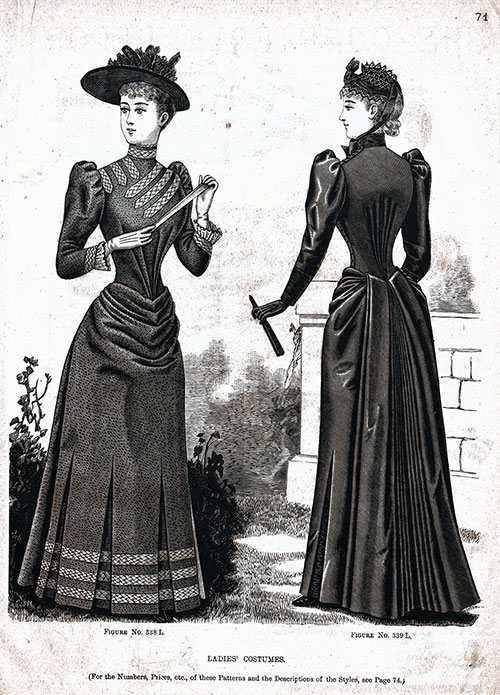 Figure 338 L and 339 L Ladies' Costumes 1890