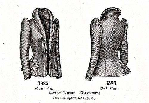 LADIES' JACKET Pattern No. 3385.