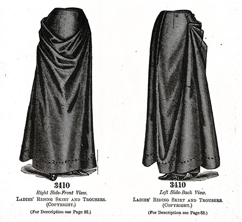 Ladies' Riding Skirt and Trousers No. 3410.
