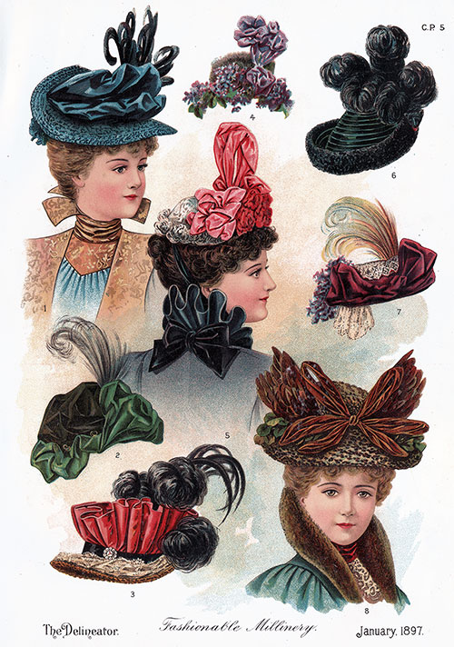 Colored Plate of Fashionable Millinery for January 1897
